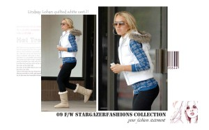 Christina Aguilera quilted vest -white in Lindsay Lohan