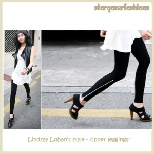 Zipper Leggings-lindsay Lohan copy5