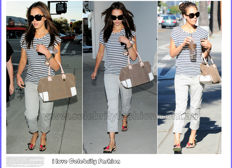 Celebrity Style Jessica Alba In Striped Trend Dress Like A Celebrity