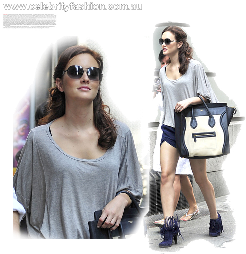 Celebrity Style: Leighton Meester in Grey Oversized Top ...