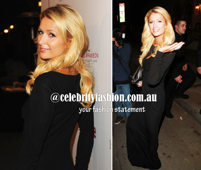 black maxi dress-paris hilton