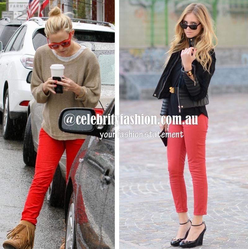 Coloured pants in red=kate hudson & Chiara F